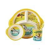 Nuevo 5pcs / set Vajilla de cebra para bebé Vajilla para niños en fibra de bambú Juego de platos Plato tazón con cuchara Comida de dibujos animados Juego de alimentos Contenedor-cebra
