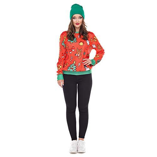 Selou Damen Spezielle Kostüme Weihnachten Mädchen Schneemann Elch Druck lange Hülsen Spitze Stitching Farbe Sweatshirt Lässiges lockeres Shirt Urlaubskleidung Frauen Arbeiten sexy dünne Strickjacke (Günstige Schneemann Kostüm)