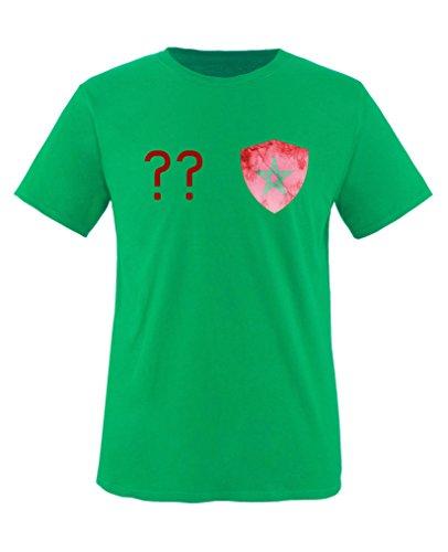 Comedy Shirts - Marokko Trikot - Wappen: Klein - Wunsch - Kinder T-Shirt - Grün / Rot Gr. 152-164