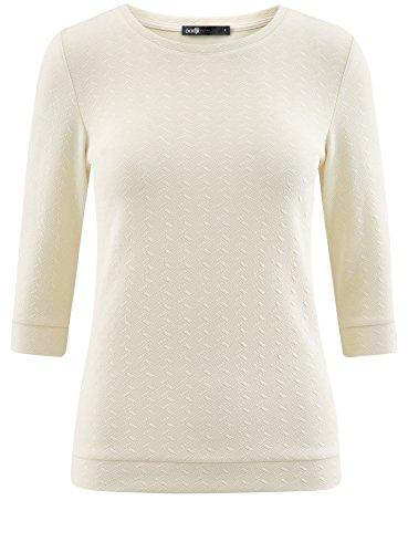 oodji Ultra Damen Sweatshirt mit Rundem Ausschnitt und 3/4-Arm Gelb (5000N)