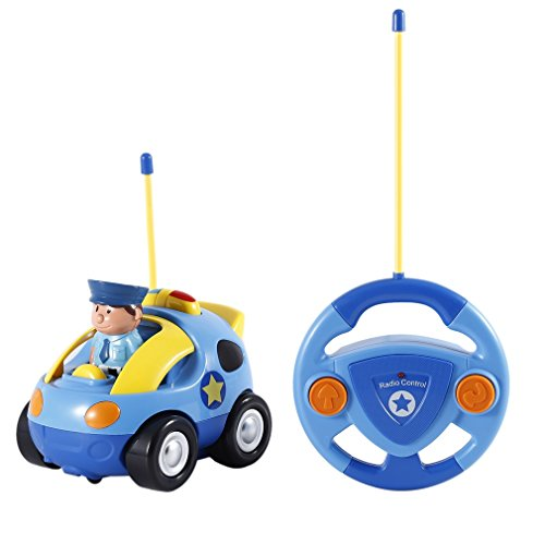 RC Car Toy,RC Cartoon Police Car with Music and Lights Electric Radio Remote Control Car Toy for Baby Toddlers Kids and Children(Blue)