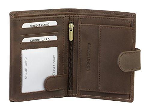 RFID BLOCK SMART Geldbörse - Premium Herren-Portemonnaie und Geldbörse - hochwertigem Leder mit RFID-Blocker in schwarz - TÜV-geprüft - bei KORUMA (SM-904HBR)