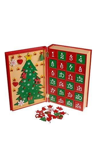 Clever Creations Adventskalender in Buch-Optik - mit 24 Türchen - aus Holz - mit Weihnachtsbaum-Motiv - rot und goldfarben Bemalt - 19,7 x 29,8 cm