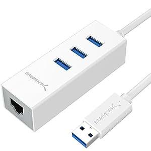 Sabrent 3-Port USB 3.0 and RJ45 10/100/1000 Gigabit Ethernet Port [Built-in 1ft USB 3.0 Cable] (HB-NTUW)