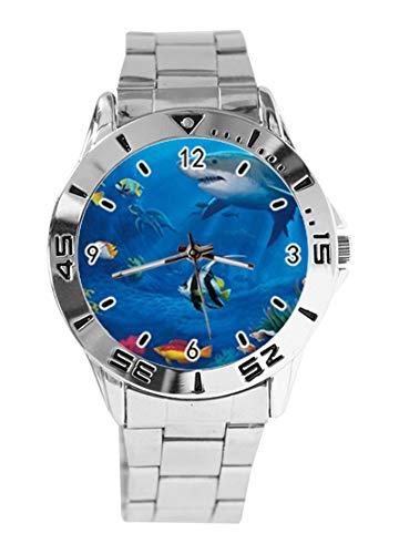Tropical Fish Aquatic Marine Life Coral Reef Custom Design Analog Armbanduhr Quarz Silber Zifferblatt Klassische Edelstahl-Band Damen Herren Armbanduhr