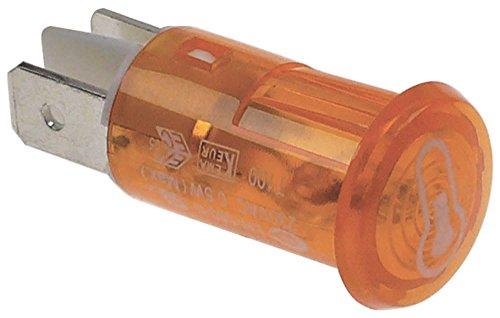 Signallampe Thermometer ø 12mm 230V Anschluss Flachstecker 6,3mm gelb passend für Bartscher