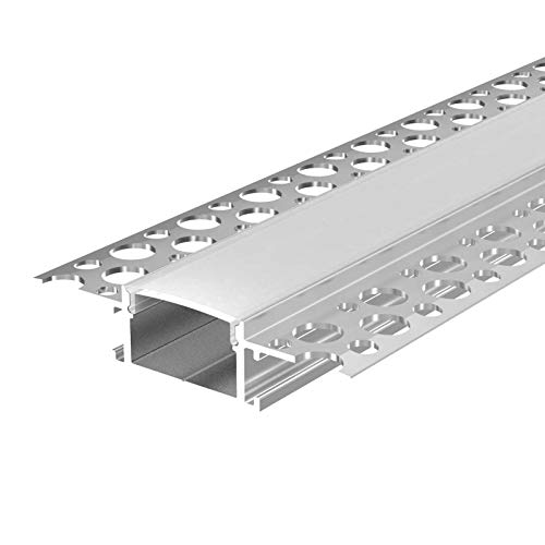 2 m Profilo in Alluminio KIZAR (Ki) 2 Metri Alluminio Profilo per Costruzione a Secco anodizzato per Strisce LED Guide di Copertura Bianco Latte (Opal) e Tappi terminali