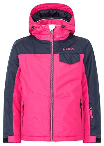 icefeld Kinder Winterjacke/Skijacke mit Kapuze für Mädchen, pink in Größe 122/128