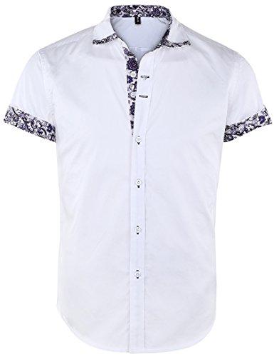 Jeetoo camicia da cerimonia - floreale - con bottoni - maniche corte - uomo white medium