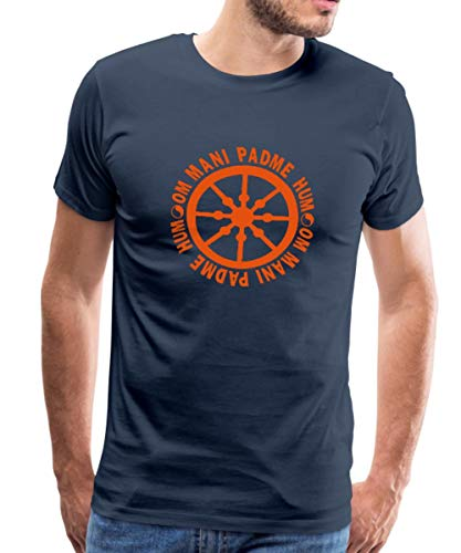Spreadshirt lebensrad mit Mantra om mani Padme hum Männer Premium T-Shirt, 4XL, Navy