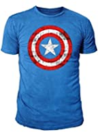 Marvel Comic - Captain America Herren T-Shirt - Logo (Cobaltlau) (S-XL)