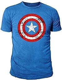 Marvel Comic - Captain America Herren T-Shirt - Logo (Cobaltlau) (S-XL)