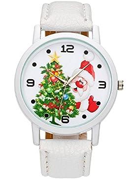JSDDE Weihnachtsuhr Cute Damen Mädchen Weihnachtsmann Weihnachtsbaum Armbanduhr Modische Xmas Kunstleder Quarzuhr...