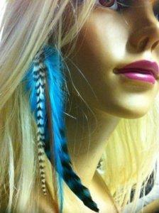 Sexy paillettes plumes pour extensions de cheveux 10,2cm -7cm de large longueur indien bleu