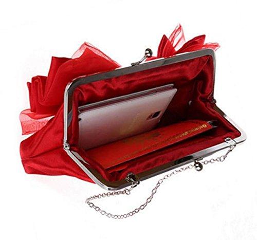 Fashion Bow Handtasche Abendtasche Braut Clutch Messenger Umhängetasche,Black Red