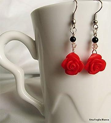 Boucles d'oreilles roses bijoux fait main en pâte polymère fimo