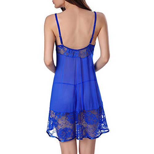 iBaste Camicie da notte trasparente in pizzo Blu