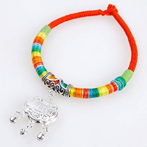 Persönlichkeits-Wind Pure Handgemachte Haustier Ching Kragen Smarten Katze Kragen Kim Bang Lock Die Länge des Seils variiert von etwa 25~30cm Rote Runde + Silbersprick -