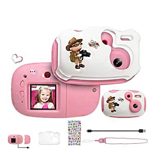 HWUKONG Die Digitalkamera der Kinder, Kinderspielzeug-stoßfeste Fotokamera, Jungenmädchen, kreatives, pädagogisches Geschenk DIY, mit Kamera der weichen Silikon-Schutzhülle SLR,pink16Gmemory - Für Japanische Flash-karten Kinder