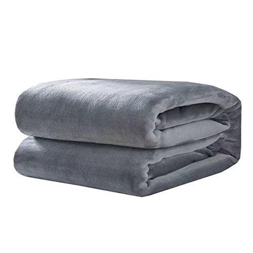 shinemoon Home beddinng Super flauschig weich Plüsch Fleece Decke wirft für Bett Sofa Farbe Outdoor Camping Reisen Decken-King Größe, grau, 180x200cm (Schonbezug Lila Sofa)