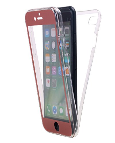 Custodia iPhone 8,Custodia iPhone 7,Snewill Slim Crystal Clear TPU Full Body Protective Shock Absorbing Case with Built-In Screen Protector for Apple iPhone 8 iPhone 7 - Clear Pink