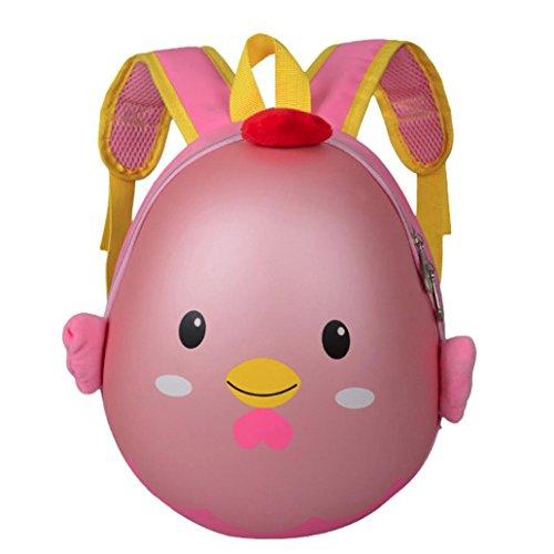 Longra Bambole gonfiabili del pollo del fumetto dei bambini, sacchetto dello zaino Rosa
