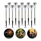 Relaxdays Solarleuchte im 10er Set, wasserdichte LED Solarlampen, für Garten & Terrasse, weißes Licht, Edelstahl, silber