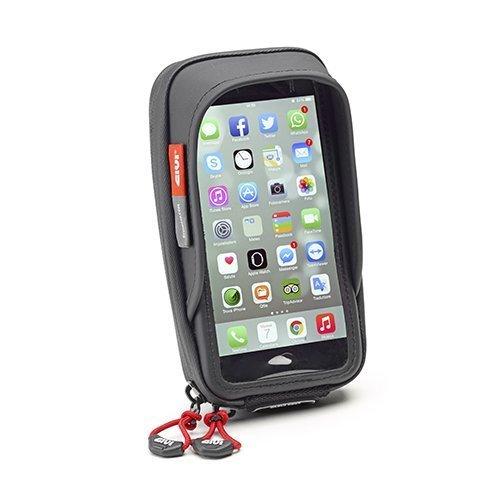 Impermeabile Supporto Smartphone Givi S957b per Moto,Adatto per Iphone/Galaxy - Staffa regolabile a 360 gradi per una visualizzazione verticale e orizzontale, aletta parasole per una facile leggibilità, cintura di sicurezza per fissare lo smartphone ...
