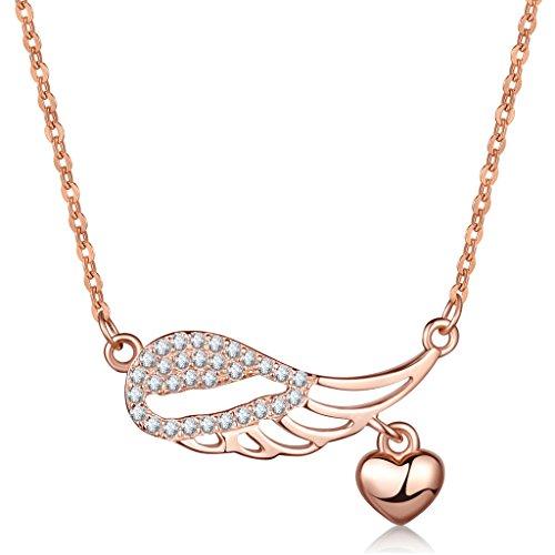 Unendlich U Modisch Engelsflügel Herz Damen Halskette 925 Sterling Silber Zirkonia Anhänger Verstellbare Kette, Rosegold