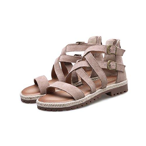Damen Sandalen Rundzehen Reißverschluss Nubukleder Anti-Rutsche Tragen Riemchen Gekreuzten Römische Stil Modern Schuhe Khaki