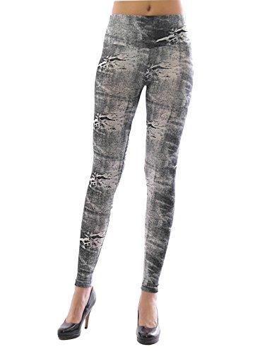 Leggings femmes longue haute couleur Pantalon opaque jeans-muster stretch leggings Bleu
