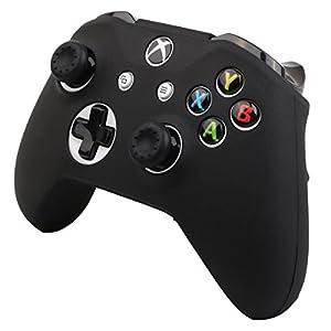 Pandaren® Silikon Hülle Anti-Rutsch NUR für Xbox One S, Xbox One X controller x 1 (schwarz) + thumb grips aufsätze x 2