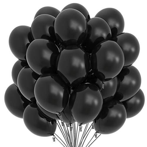 Prextex 75 Party-Ballone 12-Zoll-Ballons mit passender Farbe Farbband für Thema-Partei-Dekoration, Hochzeiten, Baby-Duschen, Geburtstagsfeier oder Zubehör Arch Daecor - Helium-Qualität groß Schwarz