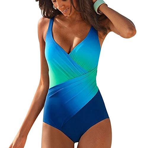 SEDEX Badeanzug Damen Farbverlauf Sexy V-Form Ausschnitt Einteiler Badeanzug Damen Bauchweg Monokini Sport Bademode Frauen Mollige Große Größe Schwimmanzug (Blau) -