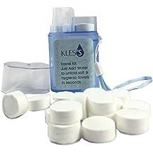 KLES Toallas Comprimidas Con Dispensador Biodegradables, Ahorran Espacio, Absorbente, Refrescante Con Agua,