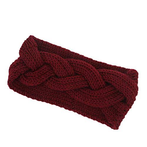 Strick Stirnbänder, TTWOMEN Damen Wrap Wide Headwrap Twist Knoten Haarband Winter Warm Turban Haar Zubehör (Rot)