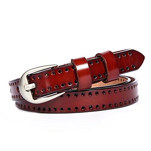 GAXmi Gürtel Damen Rot Leder Frauen Aushöhlen Schmal Gürtel für Jeans / Kleid mit Silberfarbe Schnalle (Rot Schnalle Abnehmbare)