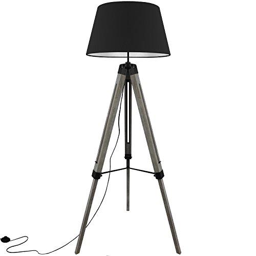 Moosgummi-füße (Grundig Tripod Stehlampe mit Textilschirm E27 40W H100-150cm in 3 Farben Stehleuchte Stativlampe Stativleuchte, Farbe:Schwarz)