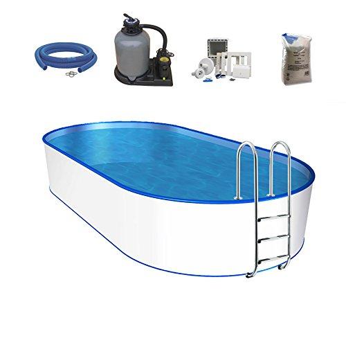 POWERHAUS24 Oval-Pool, Größe & Tiefe wählbar, Stahlwand, Folie 0,6mm Einhängebiese, Edelstahlleiter, Sandfilteranlage, Filtersand, Skimmer, Schlauchset 600 x 320 x 120cm