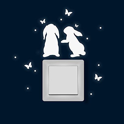 Lichtschaltertattoo Lichtschalteraufkleber Lichtschaltersticker Wandtattoo Wandbild Hasen mit Schmetterlinge und Punkten Ostern M1878