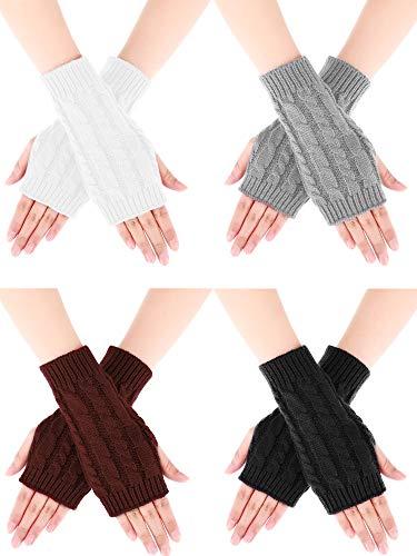 guanti senza dita donna Bememo 4 Paia Donne Guanti Lunghi Senza Dita Guanti Invernali nel Mezzo con Buco del Pollice (Colore Set 1