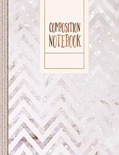 Composition Notebook: Music Journal For Girls Women, Large - Blank Musician Sheet Paper Book - 11 Staves Staff Manuscript Notation Journal - Blush Rose Gold Pink Pastel Chevron Pattern