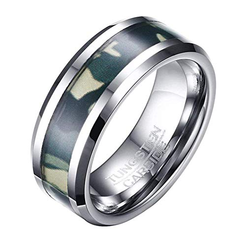 Ybmen durable verde camo modello maschile inlay 8mm tungsteno anello nuziale carburo altamente lucidato comfort fit