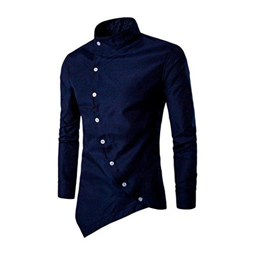 MäNner Kordsamt Shirts CLOOM Freizeit Britisch Bluse Gentleman Bequem Sweatshirt Junge Retro Trainingsanzüge Business Klassisch Pullover Hemd Slim Fit Knopf Hemd Mit Stehkragen (41, Marine) (Kleidung Britische)