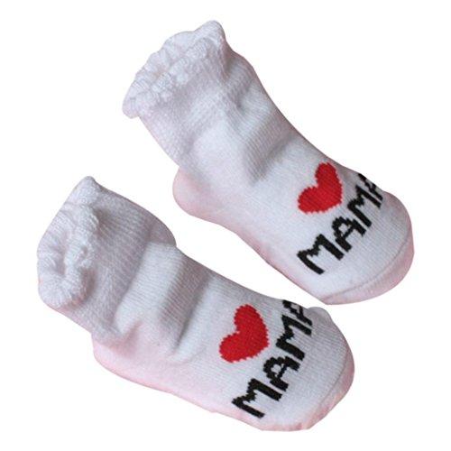 Chenille Kinder-stühle (Baby Socken VENMO Baby Säugling Junge Mädchen Slip-resistente Boden Socken Liebe Mama Papa Letter Socken Alter: 0-6Monat (White))