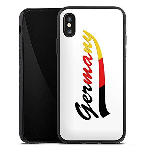 Apple iPhone X Silikon Hülle Case Schutzhülle Germany Fußball Deutschland Silikon Case schwarz