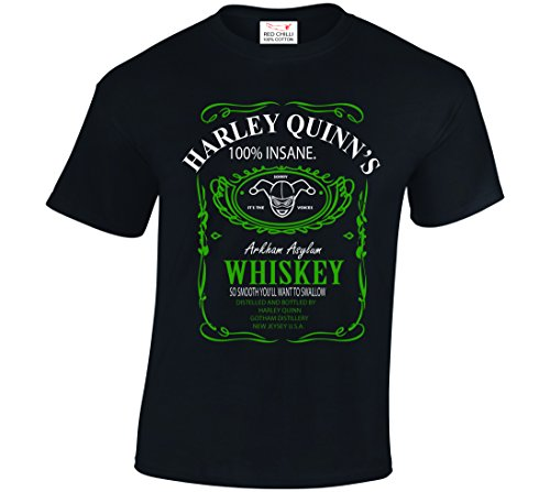 RED CHILLI APPAREL Harley Quinn Suicide Squad Inspired Tshirt Arkham Asylum JD Whiskey Style
