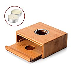ZOOYAUE Stövchen Teewärmer Kaffeewärmer Teekanne Wärmer aus Bambus mit 2 Teelicht, Teekanne ist Nicht enthalten