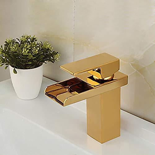 The only good quality Langlebig Moderner einfacher Goldbadezimmer-Wannen-Hahn - Wasserfall-einzelnes Loch/einzelner Handgriff EIN Hahn praktisch (Wanne Armaturen Einzelne)