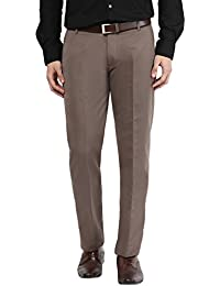 BUKKL Brown Slim Fit Formal Trousers For Men